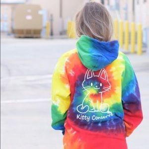 Tops - Tie dye Kitty Cat Hoodie Ivory Ella Style